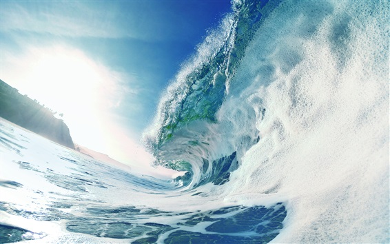 Wallpaper Turbulent sea waves, foam, water splash