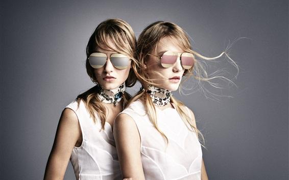 Wallpaper Two blonde girls, fashion, glasses