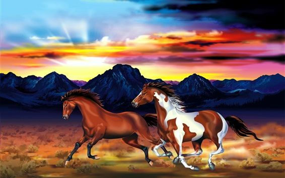 Wallpaper Two horses, mountains, red sky, sunset, art drawing