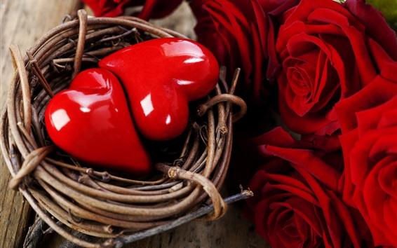 Fond d'écran Deux coeurs d'amour dans le nid, rose rouge, la Saint-Valentin