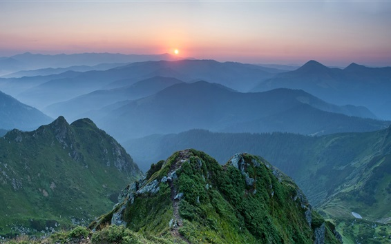 Wallpaper Ukraine, Carpathian mountains, sunset