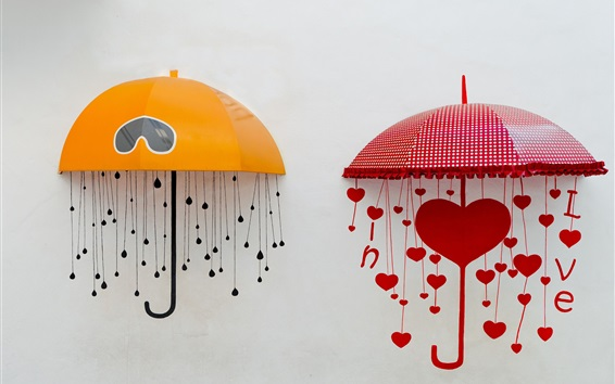 Wallpaper Umbrellas, love hearts, yellow and red