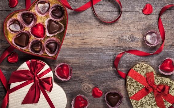 Papéis de Parede Dia dos Namorados, chocolate, doces, corações do amor, romântico, presente