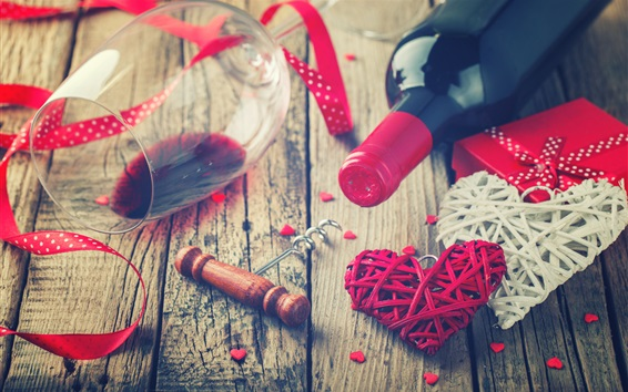 Wallpaper Valentine's Day, romantic, love hearts, wine, glass cup, gift