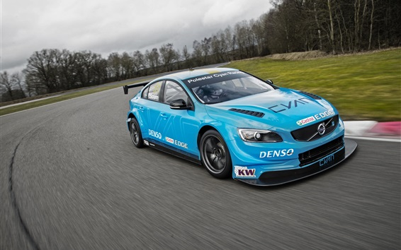 Wallpaper Volvo S60 Polestar blue car speed