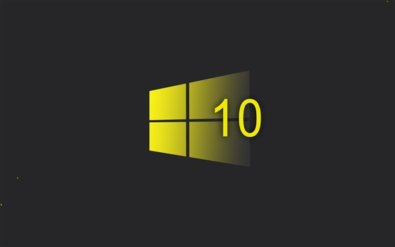Wallpaper Windows 10 system, yellow style logo, black background