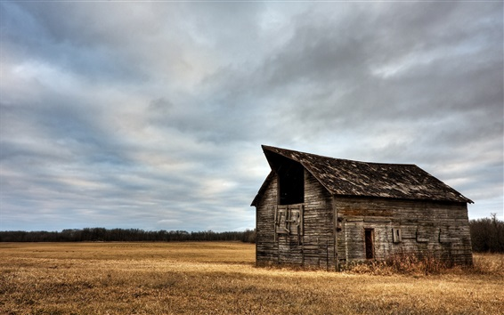 Wallpaper Wood house, grass, field, clouds, nature scenery