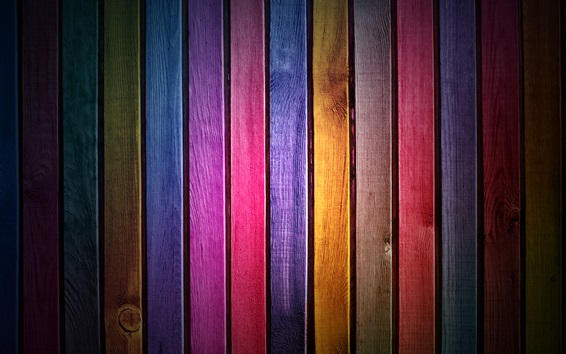 Wallpaper Wood slats, rainbow colors