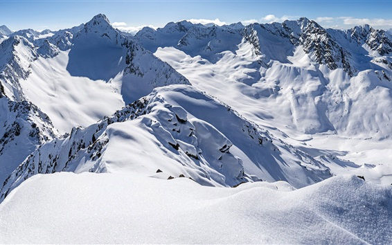 Wallpaper Zischgeles, Stubai Alps, Tyrol, Austria, thick snow, mountains, winter