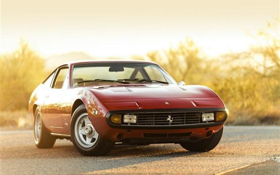 Fond d'écran 1972 Ferrari 365 GTC-4 voiture rouge devant vue
