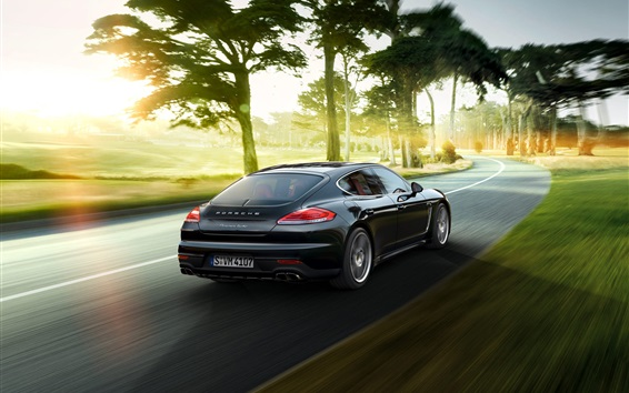 Wallpaper 2015 Porsche Panamera black supercar back view and speed