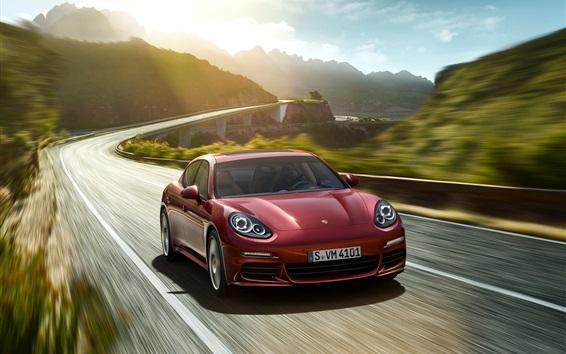 Wallpaper 2015 Porsche Panamera red car speed