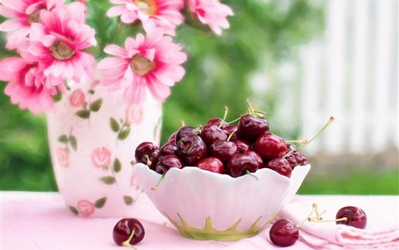 Wallpaper A bowl cherries, pink flowers