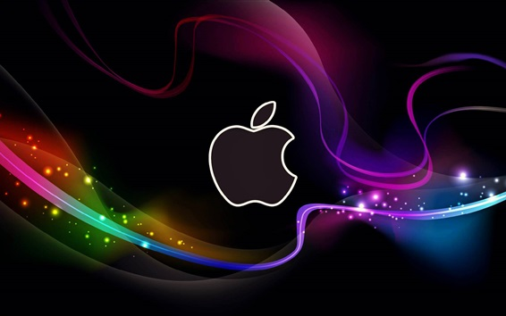 Wallpaper Abstract Apple logo, colorful lines