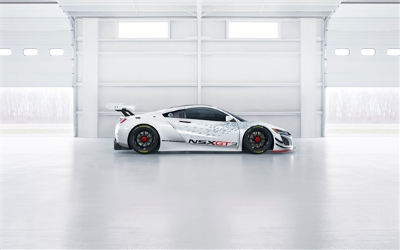 Wallpaper Acura NSX GT3 white supercar side view