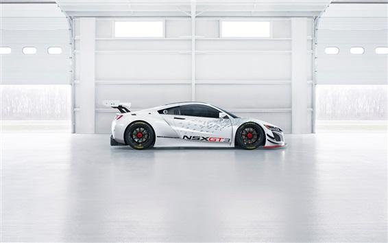 Обои Acura NSX GT3 белый суперкар вид сбоку