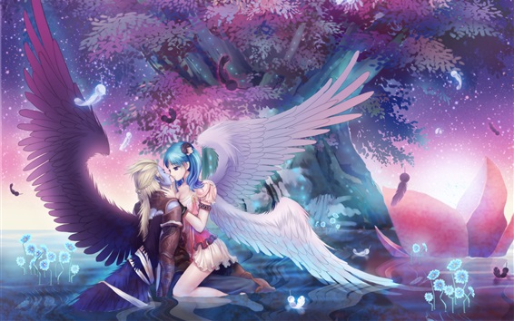 Wallpaper Anime girl and her lover, angel, tree, night