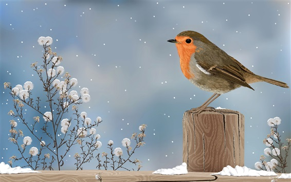 Wallpaper Art drawing, sparrow, bird, winter, snow