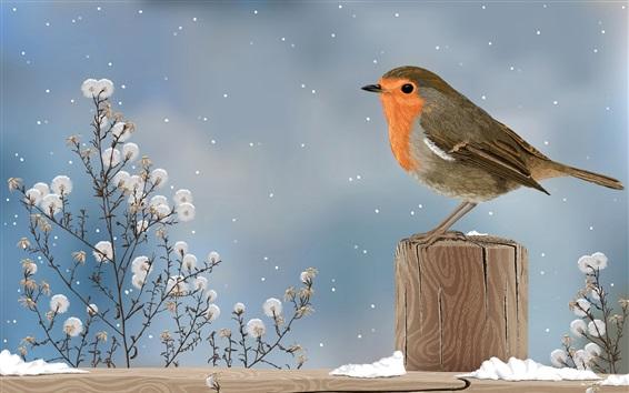 kunst zeichnung spatz vogel winter schnee hintergrundbilder hd bild. Black Bedroom Furniture Sets. Home Design Ideas