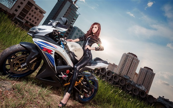 Wallpaper Asian girl and Suzuki GSX-R motorcycle