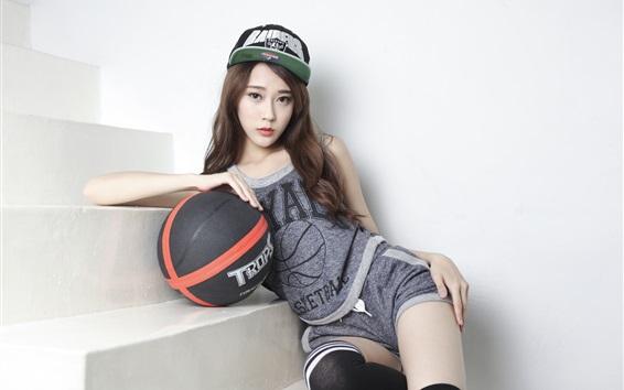 Wallpaper Asian girl, sport, basketball