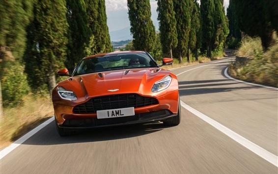 Wallpaper Aston Martin DB11 orange supercar front view