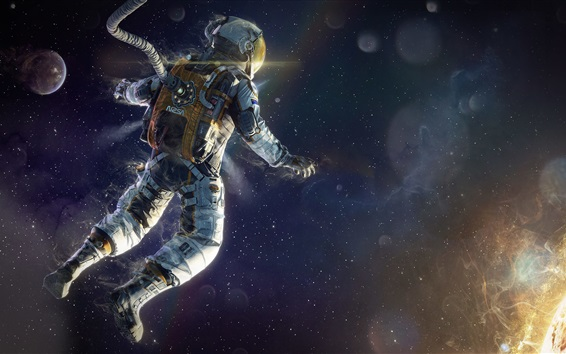 Wallpaper Astronaut floating in space, planets, stars