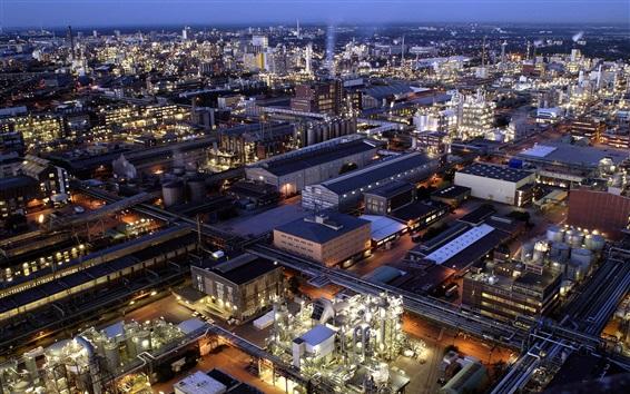Обои группа BASF, Людвигсхафен, Германия, ночь, завод