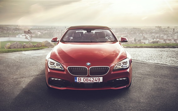 Wallpaper BMW 640i red convertible car front view