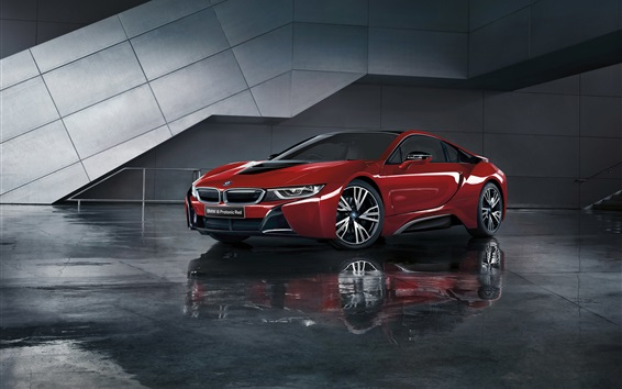 Wallpaper BMW i8 Protonic Red car