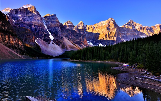 Wallpaper Banff National Park, Canada, Lake Louise, mountains, trees, blue sky