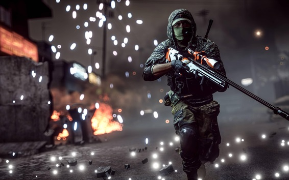Wallpaper Battlefield 1, sniper running at night