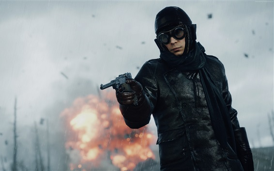 Fondos de pantalla 1 campo de batalla, soldado utilizar el arma en la lluvia