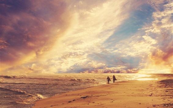 Wallpaper Beach, sea, waves, clouds, summer, surfing, dusk