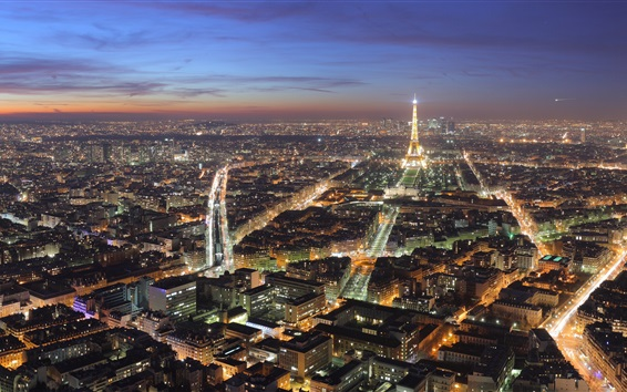 Wallpaper Beautiful Paris city night, lights, houses, Eiffel Tower