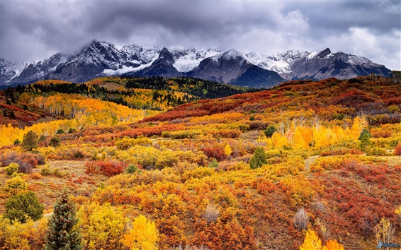 Wallpaper Beautiful autumn nature landscape, trees, mountains, clouds