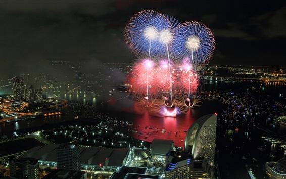 Fond d'écran Belle nuit de la ville, feux d'artifice, des gratte-ciel, lumières, Yokohama, Japon