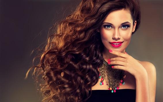 배경 화면 아름다운 모델 소녀, 미소, 파란 눈, 곱슬 머리