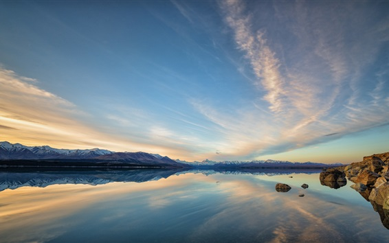 Wallpaper Beautiful nature landscape, mountains, lake, water reflection, dusk