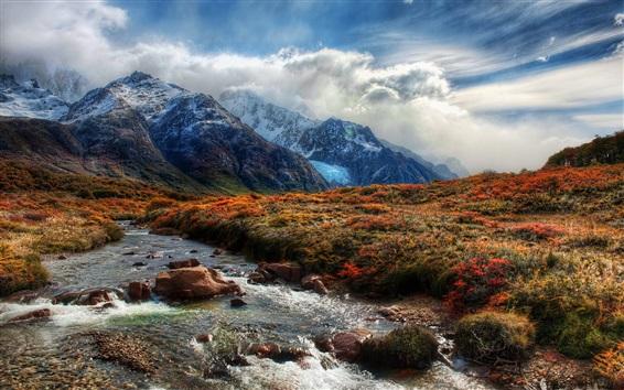 Wallpaper Beautiful nature, mountains, grass, creek, clouds