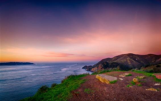 Papéis de Parede do sol do mar bonito, costa, colina, céu vermelho