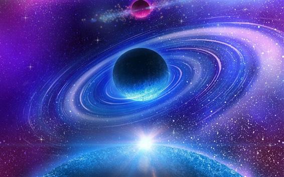 Fonds d 39 cran bel espace galaxie n buleuse plan te for Espacio exterior 4k