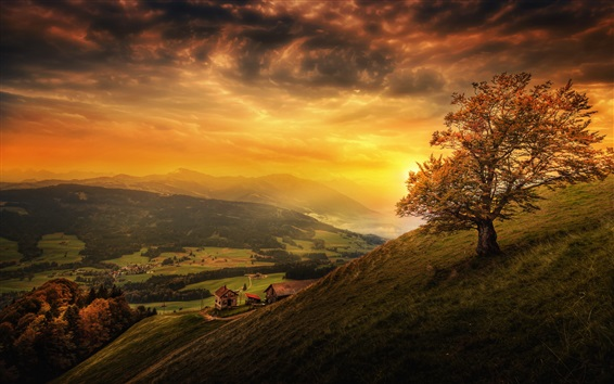 Wallpaper Beautiful sunset, mountain, slope, tree, clouds, houses