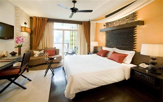 Fondos de pantalla Dormitorio, cama, mesa, ventilador de techo, ventana