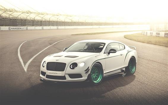 Обои Bentley Continental GT3-R белый гоночный автомобиль