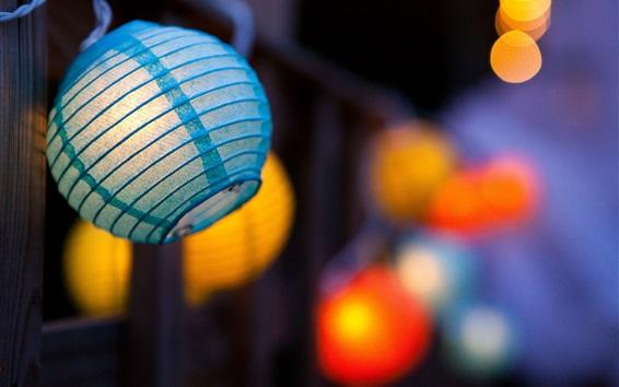 Wallpaper Blue lantern, night, glare