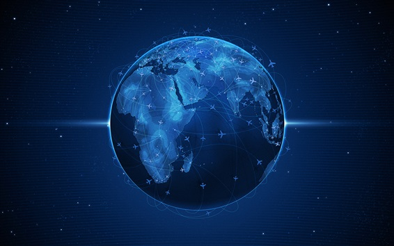 Wallpaper Blue planet earth, airplanes flight lines
