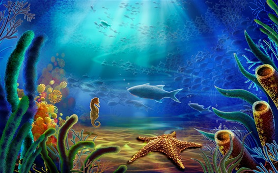 Wallpaper Bottom sea animals, fish, starfish, coral, water, art drawing