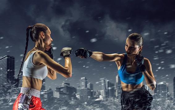 壁紙 ボクシングの女の子、アスリート、戦い、スポーツ