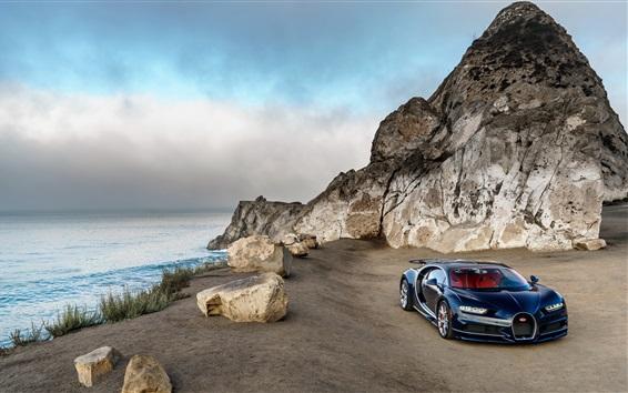 Fondos de pantalla Bugatti Chiron coche azul de lujo, América del Norte, costa